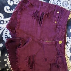 Distressed Maroon/Wine Red Shorts